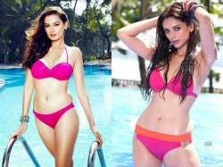 Bollywood Actress Bold Pictures Pink Bikini On World Bikini Day