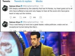 Salman Khan Gets Trolled Tweeting About Atal Bihari Vajpayee And Kerala Floods