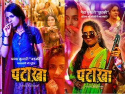 Vishal Bhardwaj Patakha Posters Radhika Madan Sanya Malhotra Warring Sisters