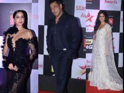 th Annual Star Screen Awards 2018 Red Carpet Salman Khan Katrina Kaif Nora Fatehi