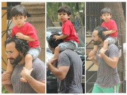 Taimur Ali Khan Spotted On Sunday Stroll On Dad Saif Ali Khan S Shoulder