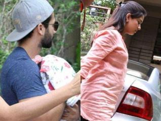 #FirstPic- गोद में बेटी को लिए नजर आए शाहिद..मीरा भी थीं साथ..