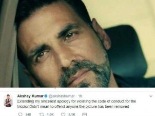 अक्षय कुमार ने भारतीय तिंरगा उल्टा पकड़ने पर  मांगी माफी